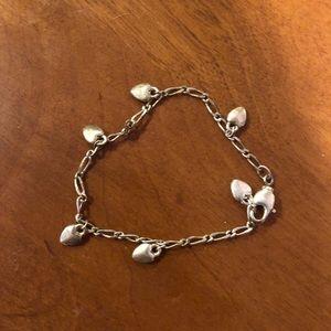 Girls silver heart bracelet